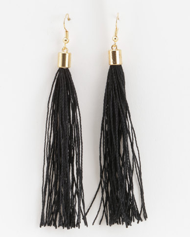 Jewels and Lace Tassel Earrings Black
