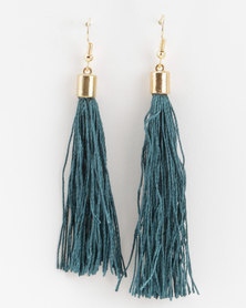 Jewels and Lace Tassel Earrings Teal