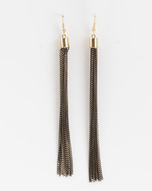 Jewels and Lace Chain Tassel Earrings Gold-tone