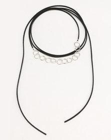 Jewels and Lace Circle Link Choker Black
