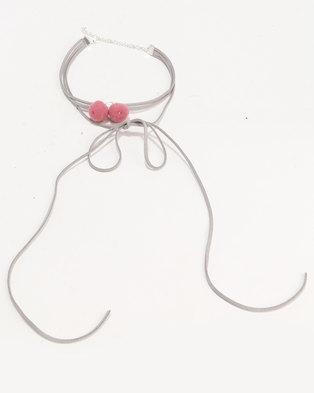 Jewels and Lace Pom Pom Tassel Choker Grey/Pink