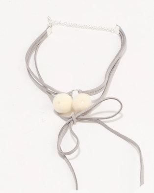 Jewels and Lace Pom Pom Tassel Choker Grey/Cream