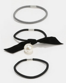 Jewels and Lace Pearl Bow Hairband 3 Pack Black