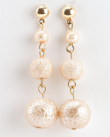 Jewels and Lace Texture Pearl Earrings Champagne