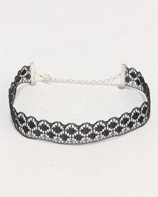 Jewels and Lace Texture Rhinestone Cross Choker 4 Pack Black