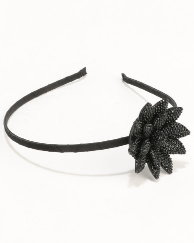 Jewels and Lace Flower Alice Band Black  298503477bb