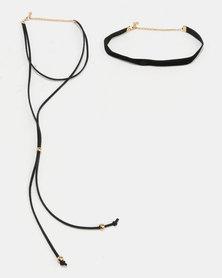 Jewels and Lace Choker Twinpack Black