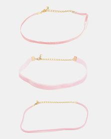 Jewels and Lace Choker 3 Pack Pink