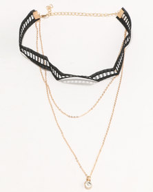 Jewels and Lace Lace Layer Choker Black