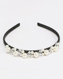 Jewels and Lace Handmade Pearl Rhinestone Alice Band Black
