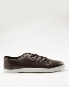 Pierre Cardin  PU Lace Up Plimsoll Brown