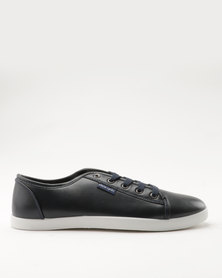 Pierre Cardin  PU Lace Up Plimsoll Navy