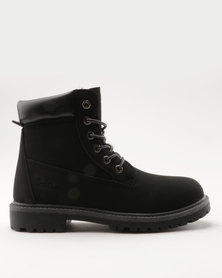 Pierre Cardin Cleated Outsole Worker Boot Black