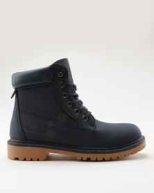 Pierre Cardin Cleated Outsole Worker Boot Navy