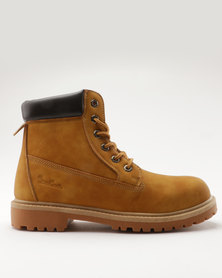 Pierre Cardin Cleated Outsole Worker Boot Tan