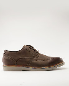 Pierre Cardin Casual Brogue Lace Up with Contrast Outsole Brown