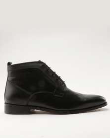 Pierre Cardin Leather Lace Up Ankle Boot Black