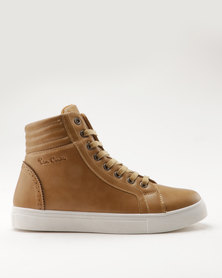 Pierre Cardin PU High Top With Quilted Back Counter Tan
