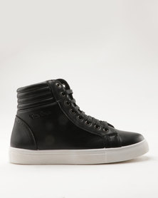 Pierre Cardin PU High Top With Quilted Back Counter Black