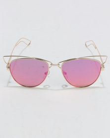 You & I Exaggerated Wiry Cateye Flame Sunglasses Gold-Tone
