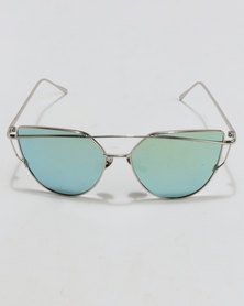 You & I Wiry Frame Sunglasses Silver/Green