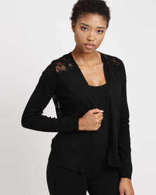 Utopia Cardi with Lace Back Black