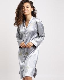 Lila Rose Printed Faux Silk Sleep Shirt Silver Floral Print