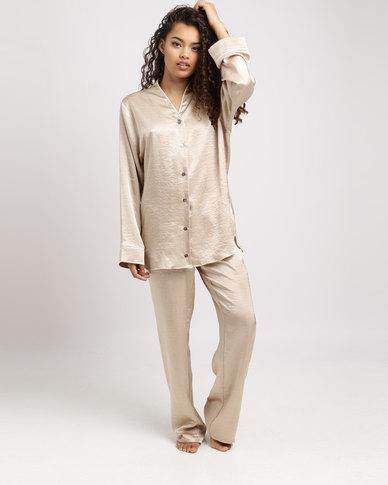 83a6f9e7df Lila Rose Faux Silk PJ Set Gold