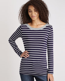 Jeep Yarndye Stripe Viscose Lycra Long Sleeve Top Navy/White