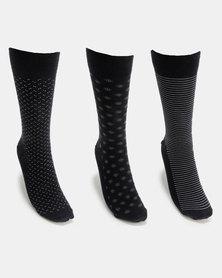 JCrew Design Fancy 3 Pack Sock Navy