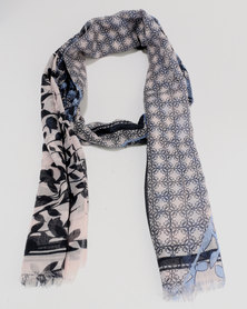 Queenspark Multi Flower Print Poly Scarf Blue