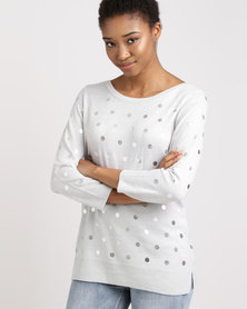 cath.nic By Queenspark Printed Spot Knitwear Grey