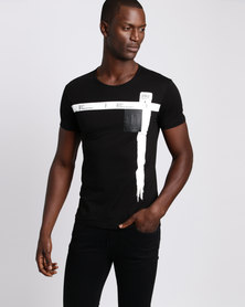 Josalem Graphic Print Slim Fit Tee Black
