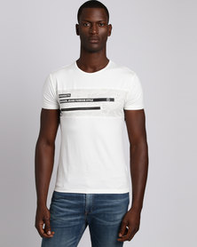Josalem Printed Panel Slim Fit Tee With Zip White