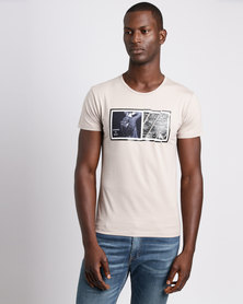 Josalem Photographic Print Slim Fit Tee Stone