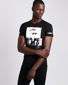 Josalem Camo Face Print Slim Fit Tee Black