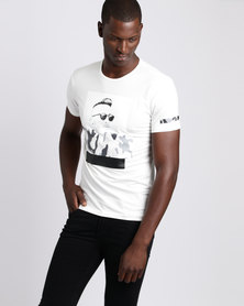 Josalem Camo Face Print Slim Fit Tee White