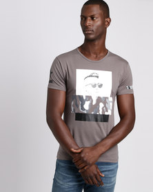 Josalem Camo Face Print Slim Fit Tee Grey