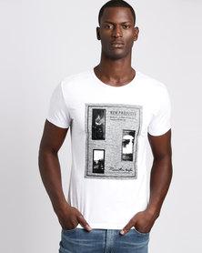 Josalem Tweed Printed Slim Fit Tee White