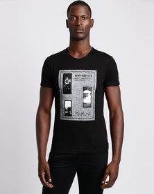 Josalem Tweed Printed Slim Fit Tee Black