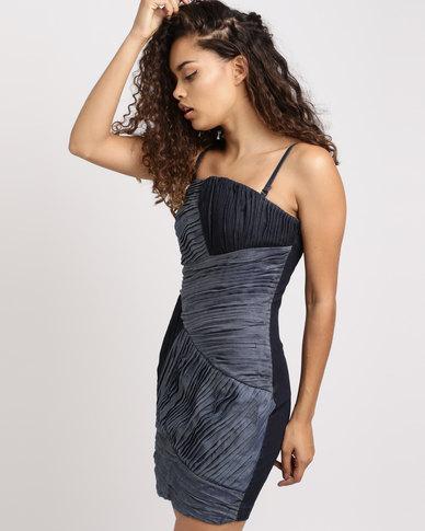 Vero Moda Pleated Denim Bodycon Dress Blue