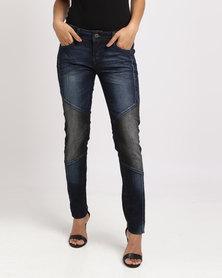 Vero Moda Colourblock Biker Slim Fit Jeans Blue