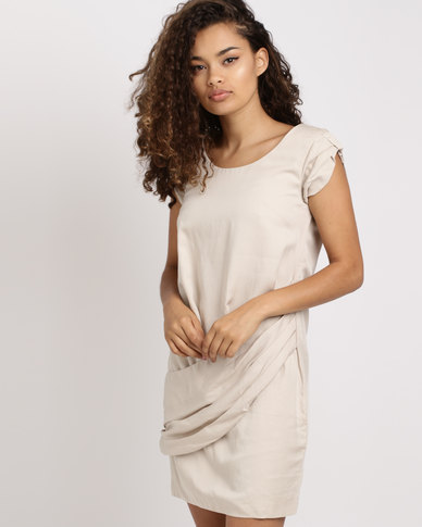 Only Drape Viscose Tunic Dress Stone