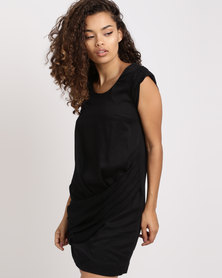Only Draped Viscose Tunic Dress Black