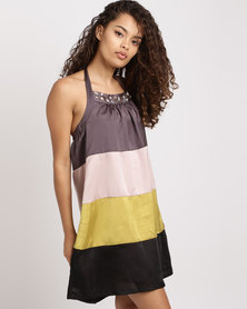 Only Colourblock Halterneck Dress With Beading Multi
