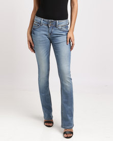 Only Lining Slim Fit Bootleg Jeans Blue