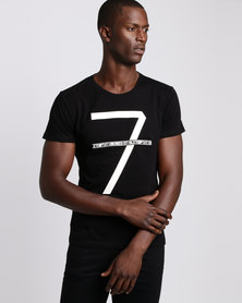 Michael Farwhale #7 Cotton Slim Fit Tee Black