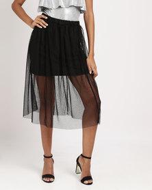 Legit Mesh Flare Skirt Black