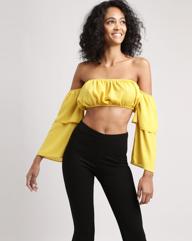 Legit Bardot Flare Sleeve Crop Top Mustard