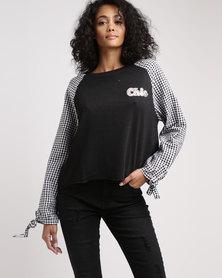 Legit Raglan Gingham Pullover Black & White